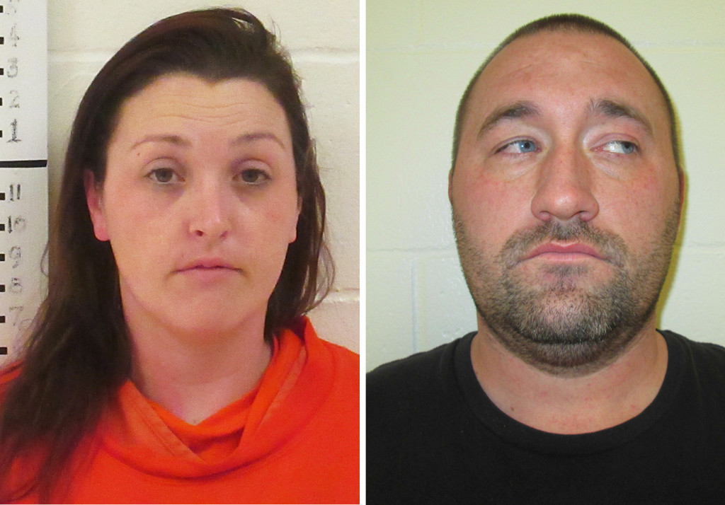 Jenna Ward, 30, of Arundel (left) Justin Riggall, 35, of Kennebunk charged with firing a gun inside a pickup truck. Photos courtesy of the York Sheriff''s Office