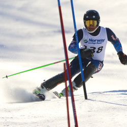 Edward Little's Maxx Bell skis a 32:08 run, good enough for first place after the trip down the mountain.