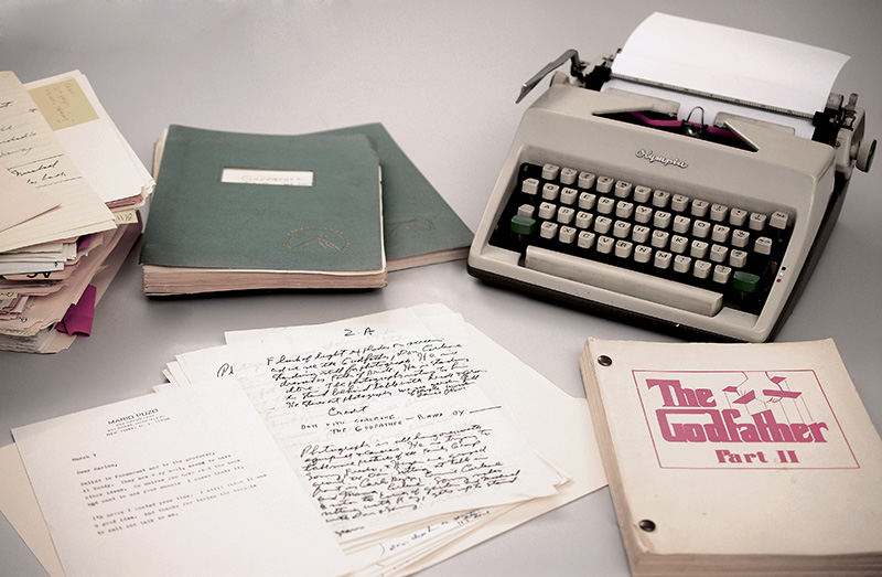 Mario Puzo's 1965 Olympia typewriter with manuscripts and versions of both Godfather I and II screenplays.