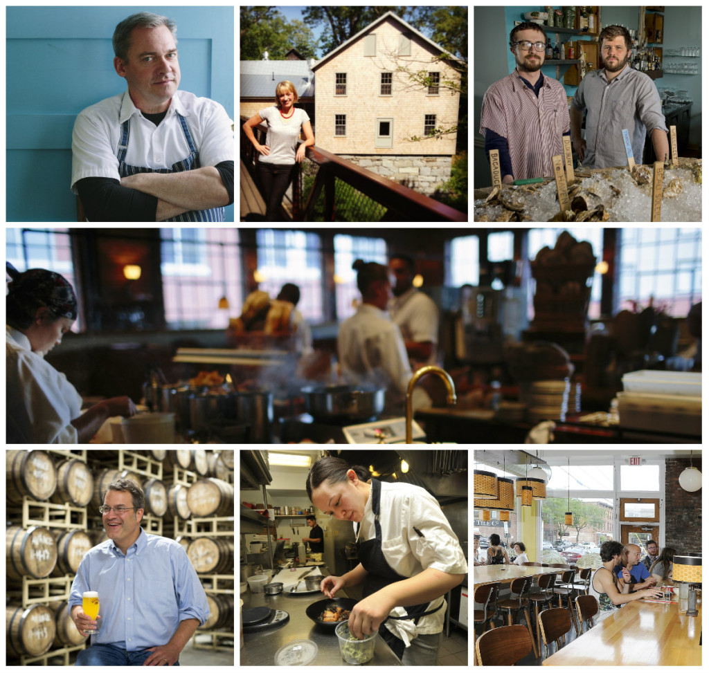2016 James Beard Award semifinalists from Maine include, clockwise from top left: chef Brian Hill; chef Erin French; chefs Mike Wiley and Andrew Taylor; Fore Street; The Honey Paw; chef Cara Stadler; brewer Rob Tod. Not pictured: chef Keiko Suzuki Steinberger.