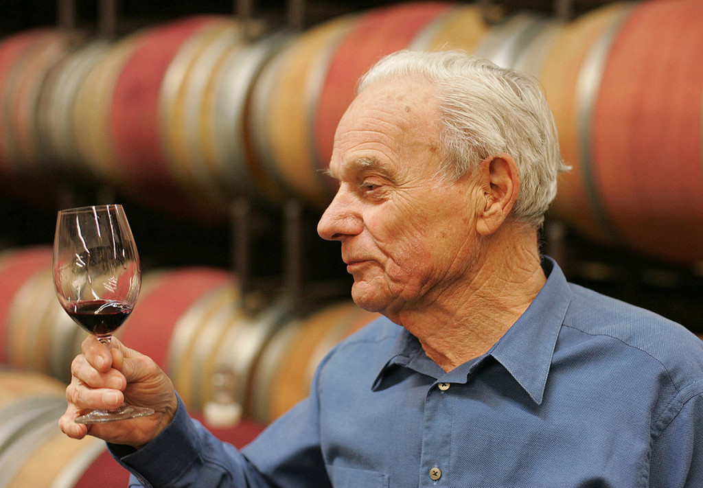 Peter Mondavi samples a glass of Cabernet Sauvignon out of the barrel at the Charles Krug Winery in St. Helena, Calif., in this May 19, 2005, photo.  Mondavi researched the effects of cold fermentation on white and rose wines, and applied what he learned to make fresher whites. The Associated Press