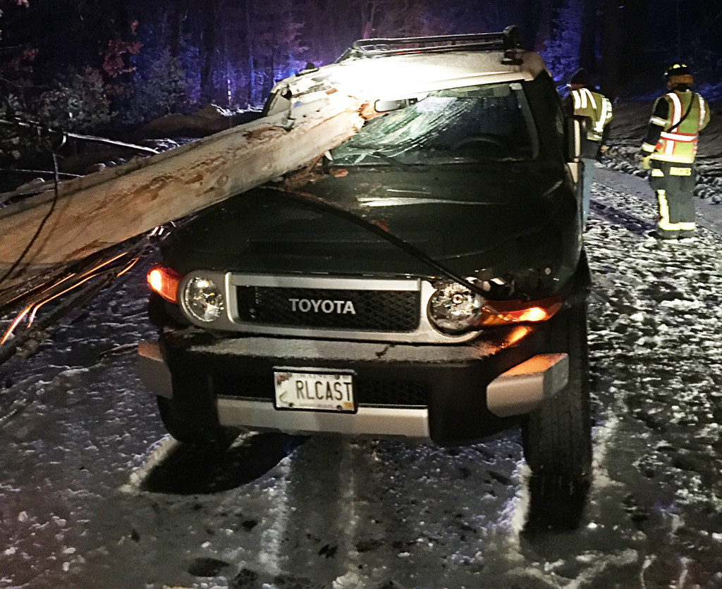 In this photo, emergency crews respond to a crash on Route 121 in Raymond Saturday. Photo courtesy of Cumberland County Sheriff's Office