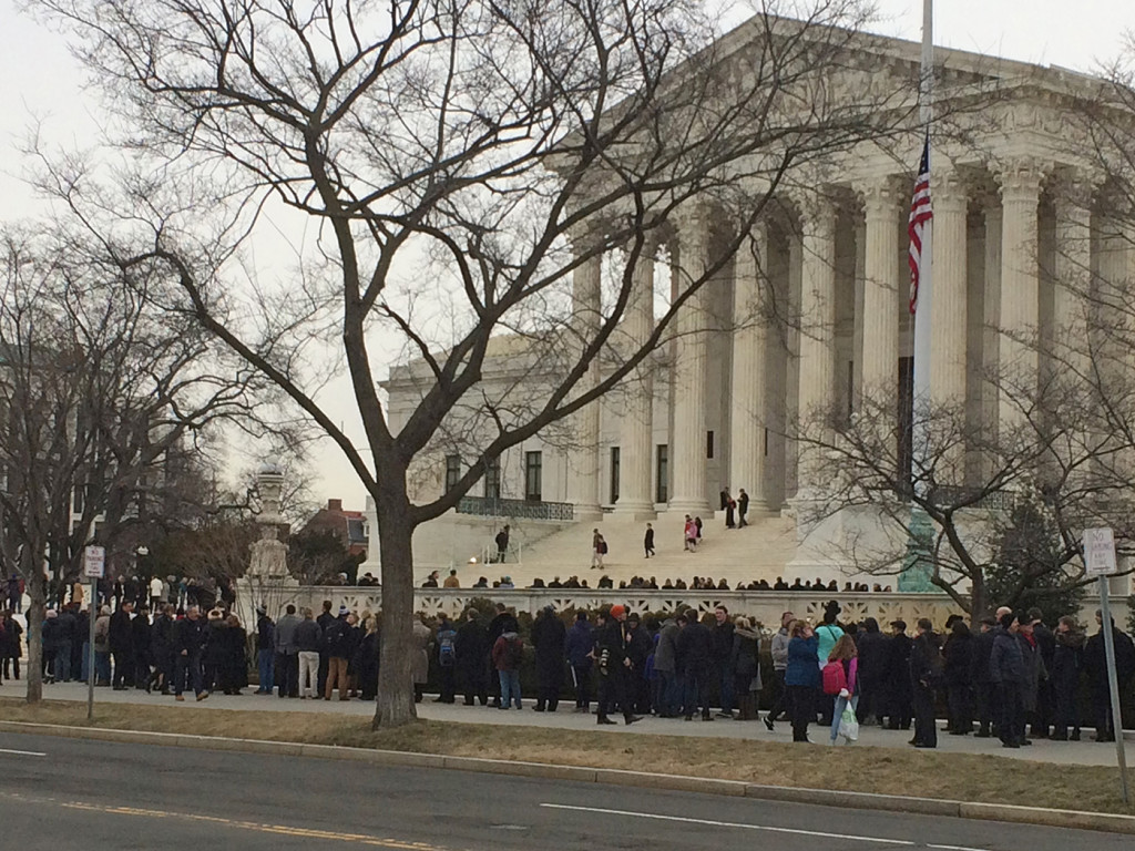 Mourners wait to pay their respects to late Supreme Court Justice Antonin Scalia in Washington, D.C., Friday morning. Contributed photo by Frank Gallagher