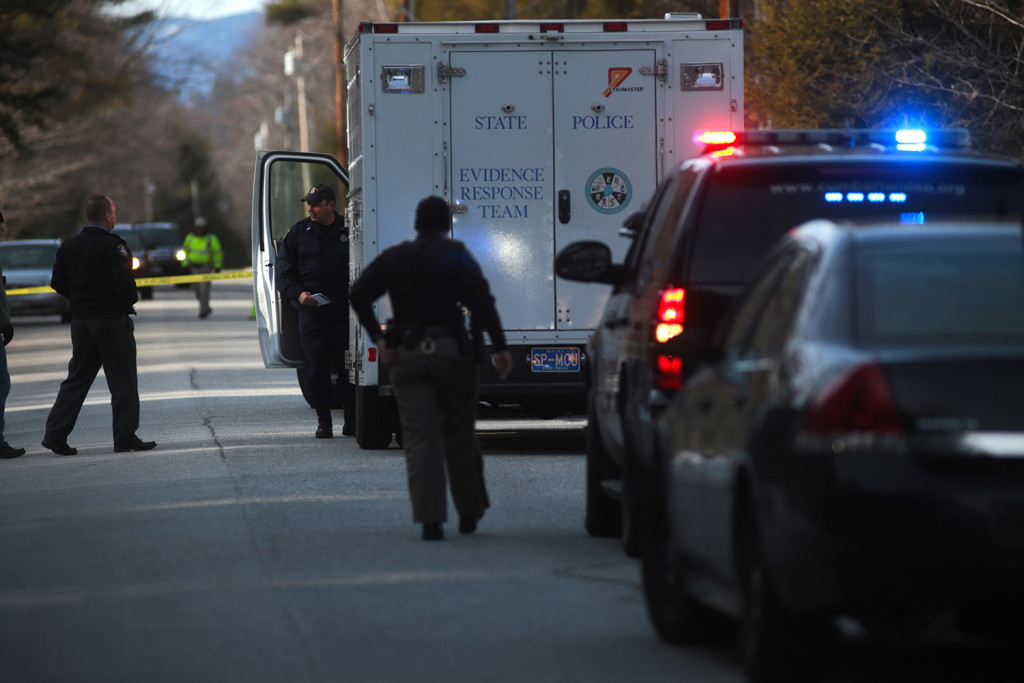 The Maine State Police Evidence Response Team arrives at the scene of a fatal shooting at 331 Hancock Pond Road in Sebago on Saturday.