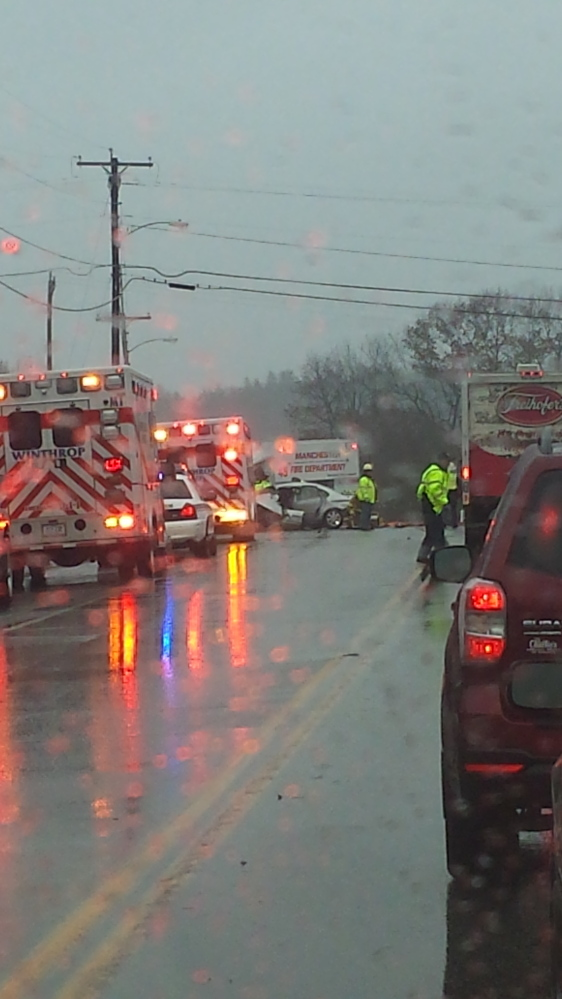 The scene of a car crash on U.S. Route 202 in Manchester in December 2014 in which Christopher J. Corliss crossed the centerline and collided with a box truck.