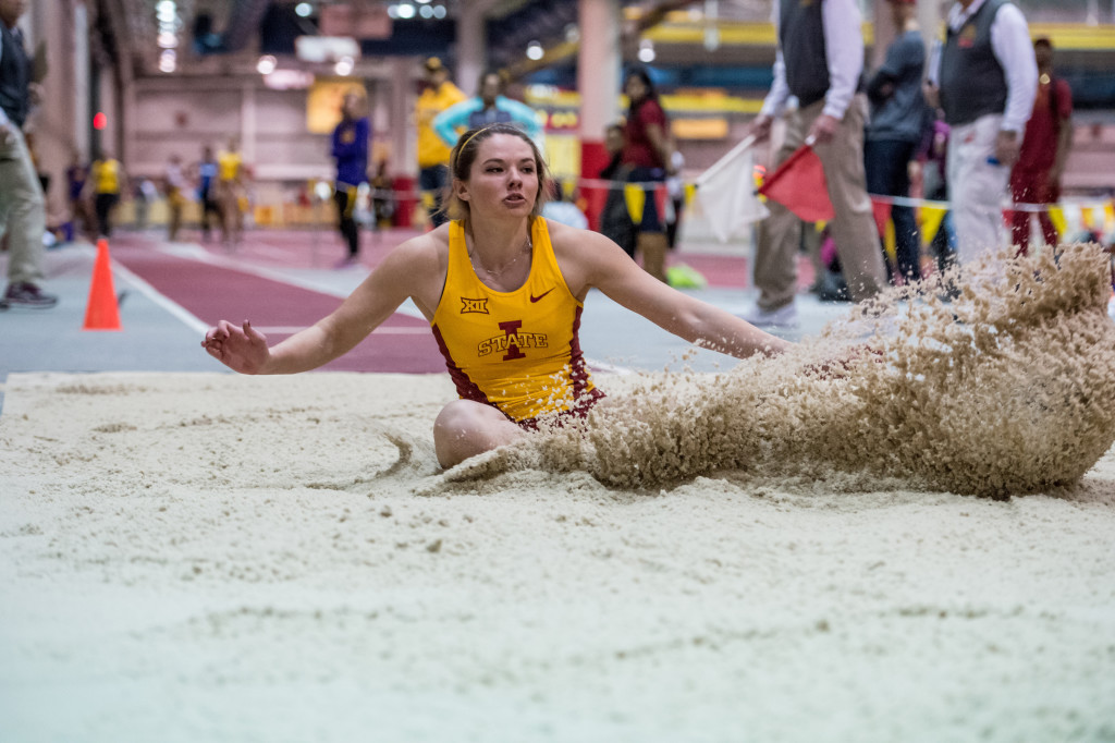 Kate Hall was around 19 to 20 feet in the long jump as a senior at Lake Region High a year ago. Now, under an Iowa State coach with an eye-opening resume, she's around 21 feet. Photo courtesy of Iowa State Athletics