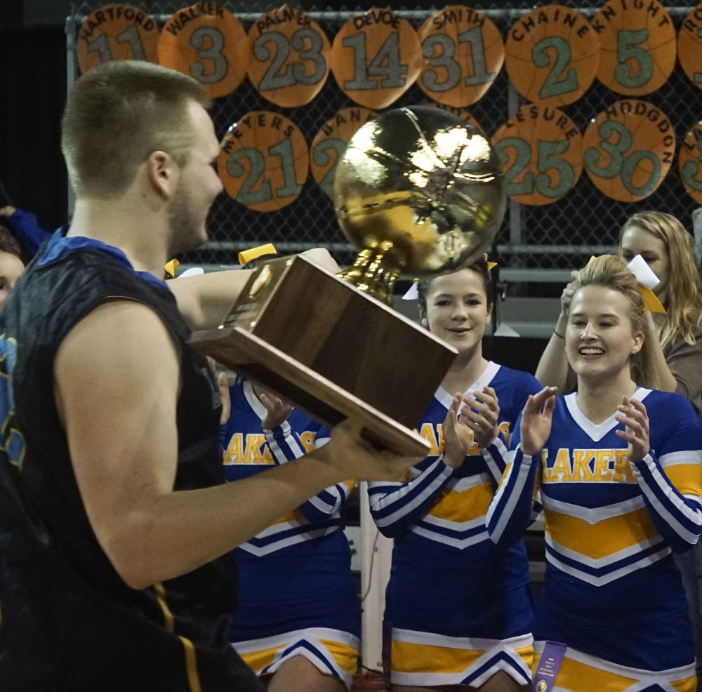 Lake Region's Alexander Langadas had a ball after the Lakers won the Class B state title, busting out a cartwheel and sharing the celebration with the school's cheerleaders.