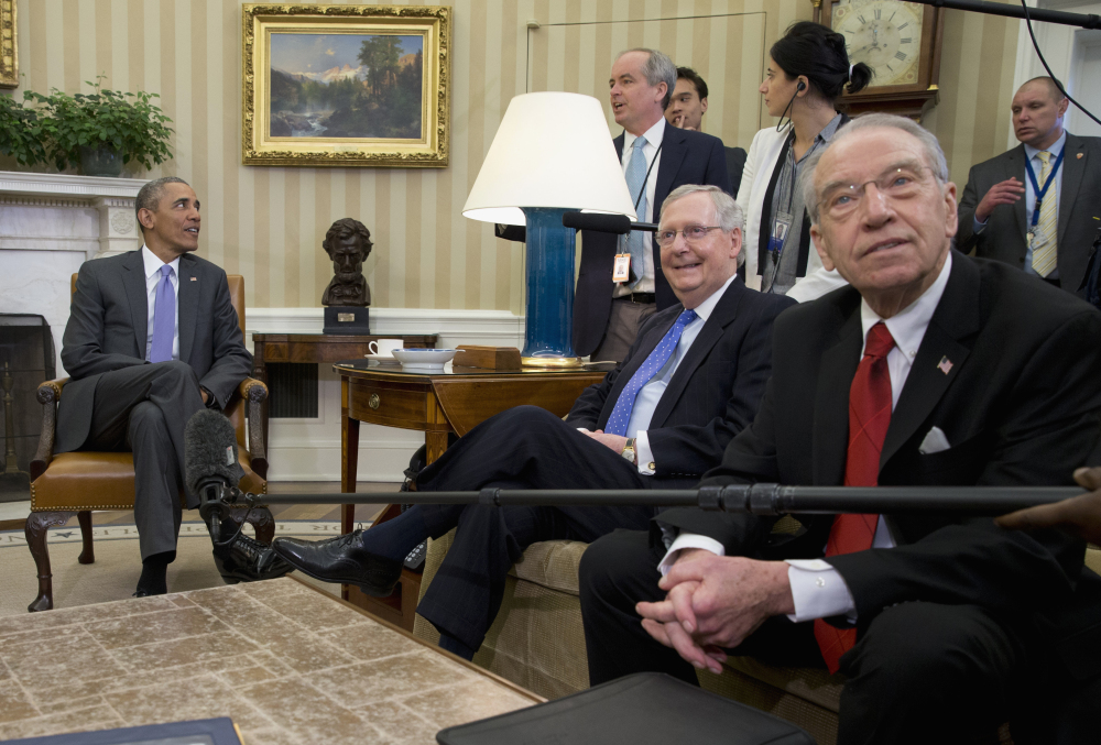 With neither side budging on the Supreme Court vacancy, Tuesday's talks turns to other subjects, including basketball, while President Obama meets with Republican Sens. Mitch McConnell, center, and Chuck Grassley in the Oval Office.