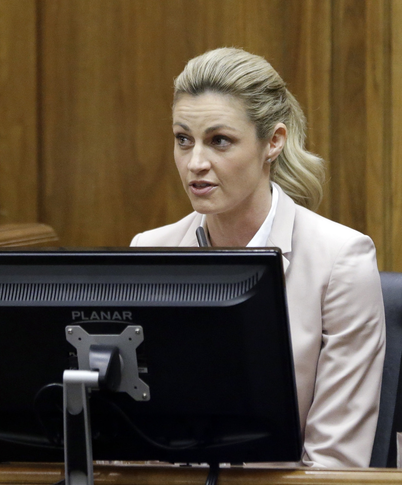 Sportscaster and television host Erin Andrews  is cross-examined Tuesday, March 1, 2016, in Nashville, Tenn. Andrews has filed a $75 million lawsuit against the franchise owner and manager of a luxury hotel and a man who admitted to making secret nude recordings of her in 2008. (AP Photo/Mark Humphrey, Pool)