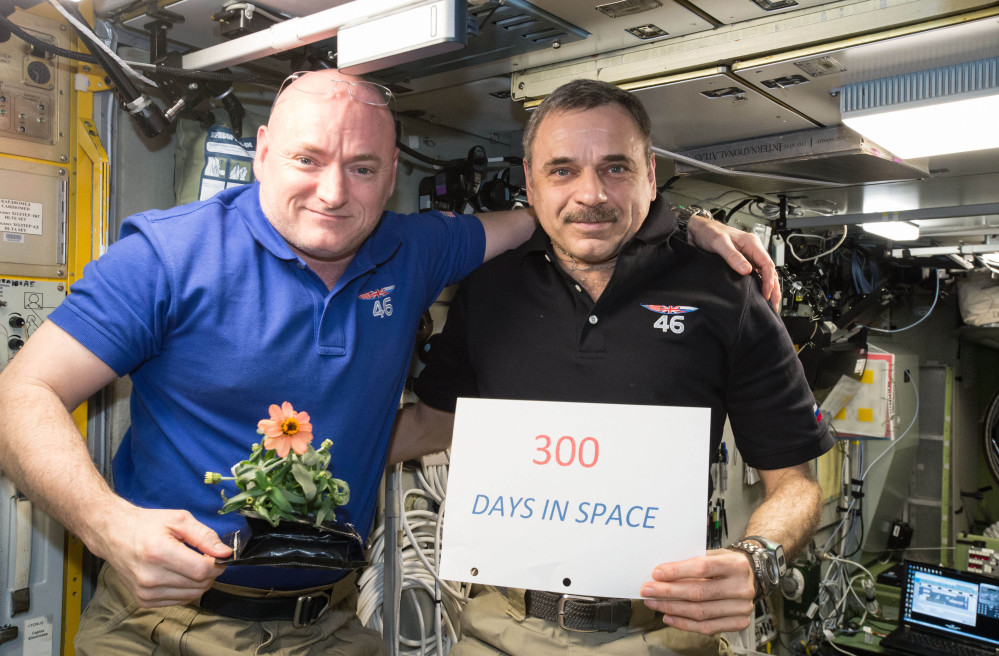 On Jan. 21, one-year mission crew members Scott Kelly of NASA, left, and Mikhail Kornienko of Roscosmos, celebrated their 300th consecutive day in space. They left International Space Station Tuesday and should land in Kazakhstan early Wednesday.