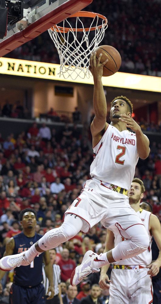 Maryland's Melo Trimble scores on a layup during an 81-55 win Thursday at College Park, Md.