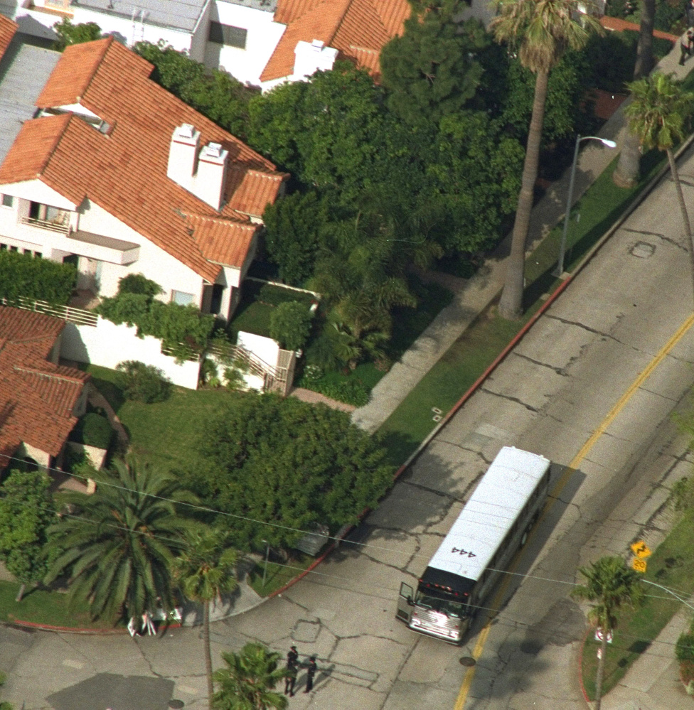 An aerial view shows Nicole Brown Simpson's condo, top with two chimneys, on Bundy Drive in the Brentwood area of Los Angeles.