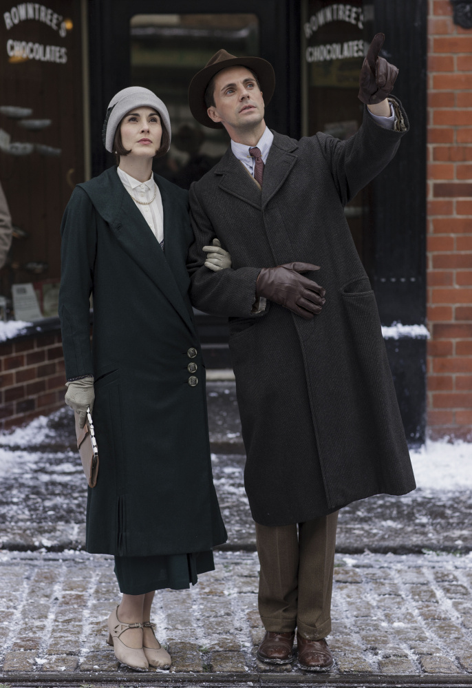 "Michelle Dockery as Lady Mary and Matthew Goode as Henry Talbot in ""Downton Abbey."""