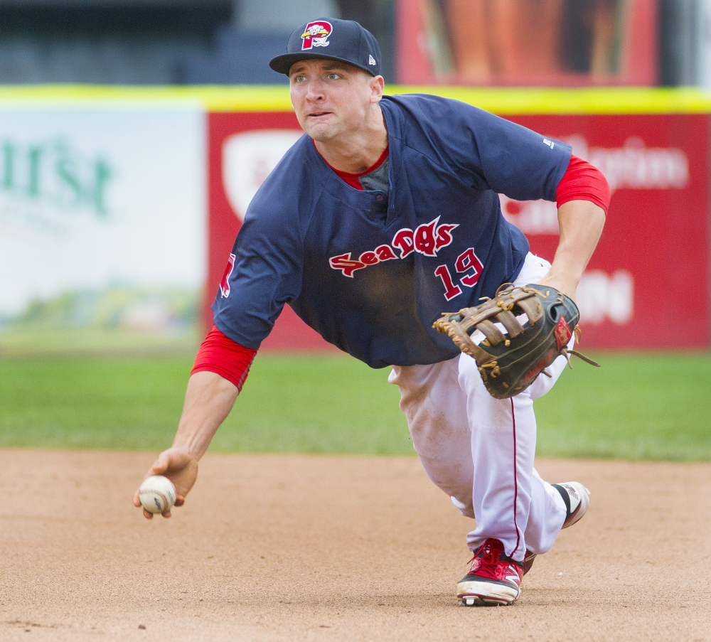 Sam Travis played a solid first base for the Portland Sea Dogs last season, and with the questions surrounding Hanley Ramirez playing the position in Boston, the Red Sox could come calling soon.