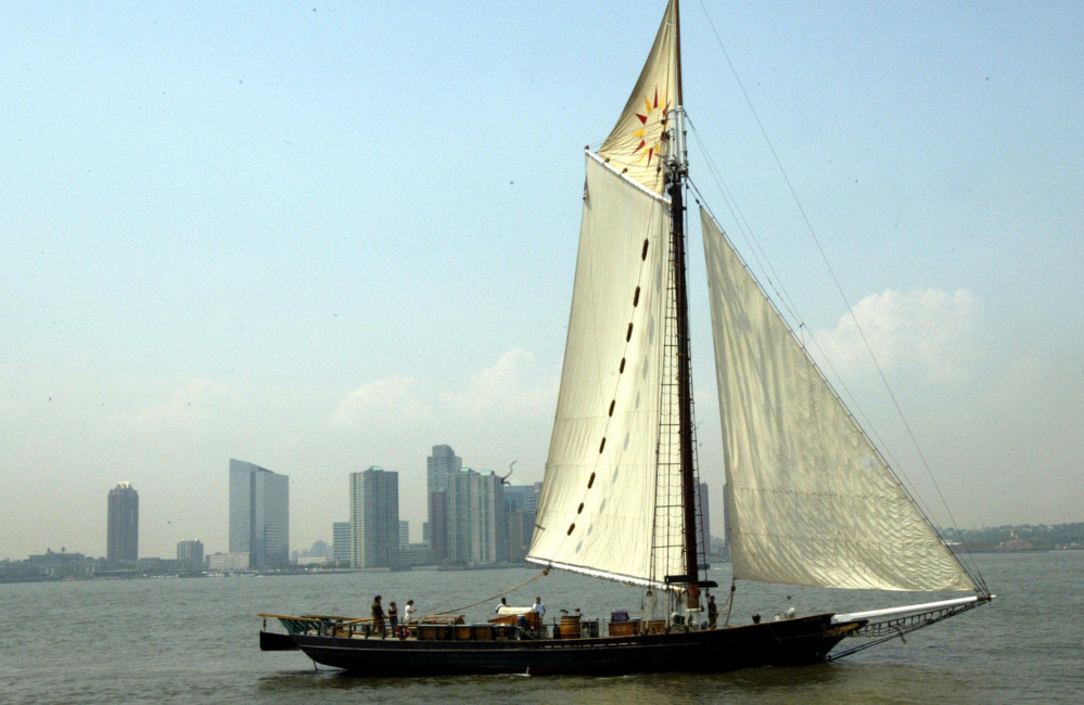 The Clearwater sails up the Hudson River in New York in May 2014. The $850,000 cost of its restoration is straining the not-for-profit that runs it, but the group is committed to its goal of getting it back on the river in mid-June.