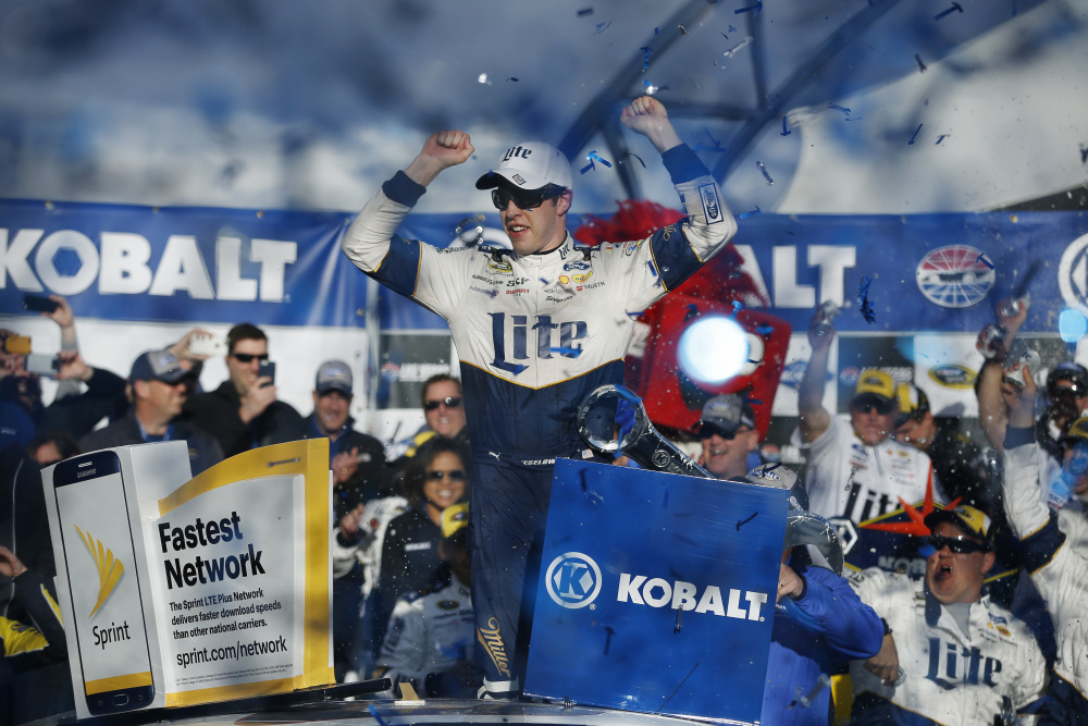Brad Keselowski celebrates after winning the Sprint Cup race Sunday in Las Vegas.