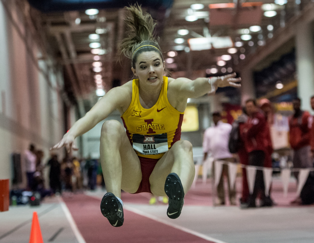 Kate Hall of Casco, seen competing for Iowa State, is planning to transfer to Georgia for next year, says her mother.