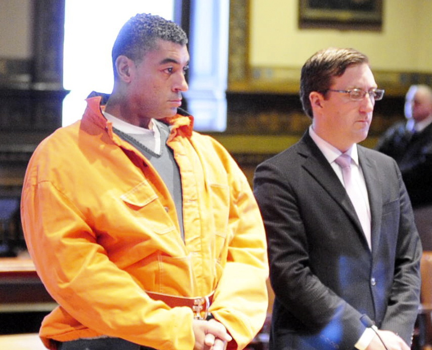 Justin Pillsbury, left, and attorney James T. Lawley appear for a hearing at which Pillsbury pleaded not guilty to murdering his girlfriend and roommate, Jillian Jones.