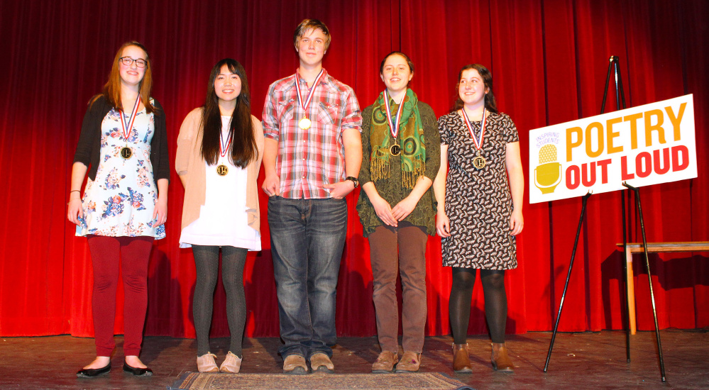 Southern region state finalists, left to right: Charlotte Benoit, Greely High School; Rose Horowitz, Mt. Ararat High School; Ben Millspaugh, Waynflete School; Sylvia Holland, Maine Coast Waldorf School; Shilo Munsen, Freeport High School.