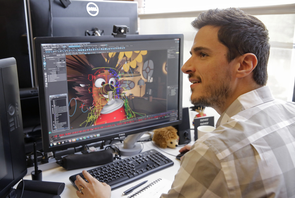"Ramiro Lopez Dau, director and animation supervisor at Oculus Story Studio, a hub for experimental filmmakers in San Francisco, works on ""Henry,"" a short film about a hedgehog whose world can be explored in virtual reality."