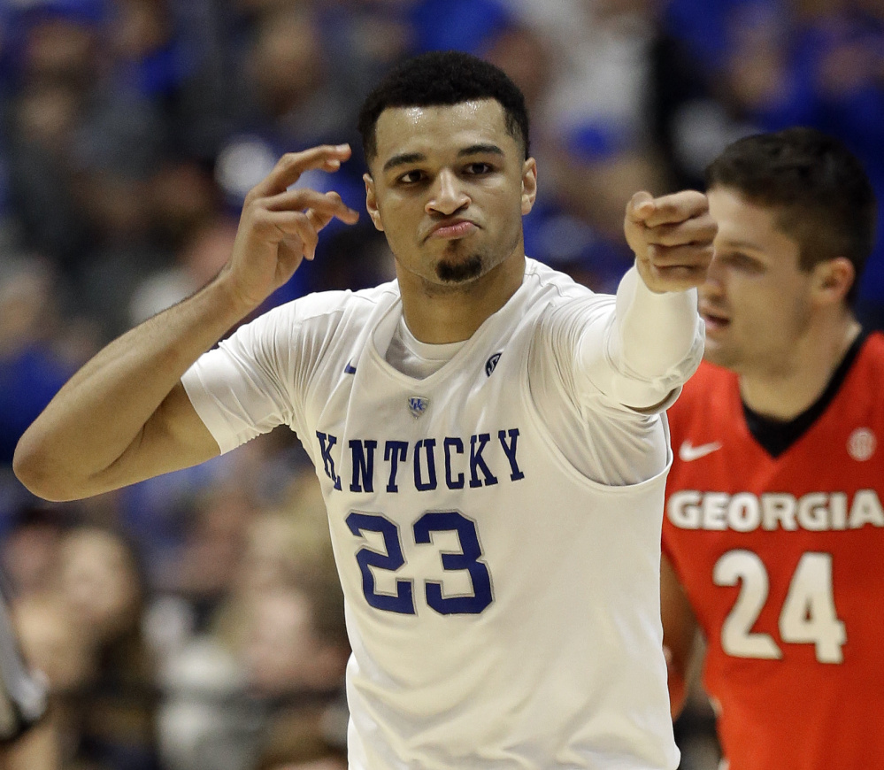 Kentucky's Jamal Murray celebrates after making a first-half shot during a 93-80 win against Georgia in the Southeastern Conference tournament semifinals at Nashville, Tennessee, on Saturday.
