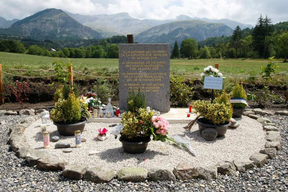 A stele, or stone slab erected as a monument, is set up in the area near where a Germanwings aircraft crashed in Le Vernet in the French Alps.