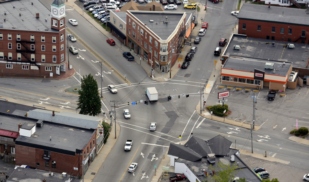 The Woodfords Corner intersection is seen in this aerial photograph in 2013.