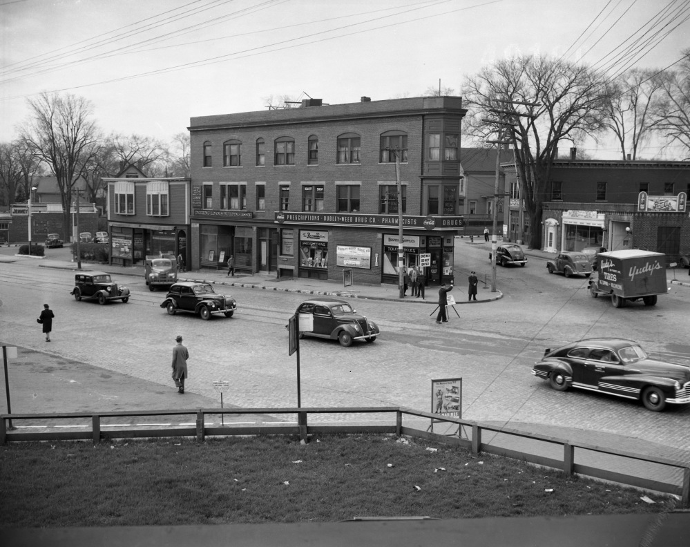 A photograph of Portland's Woodfords Corner from May 12, 1947. Forest Avenue is the main street in the foreground, with Deering Avenue on the right. Courtesy of Portland Public Library Special Collections and Archives.