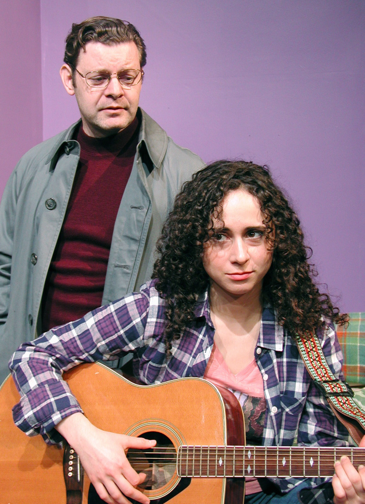 """Klye Knauf as Hank and Carolyn Faye Kramer as Marlene in """"What Rhymes with America,"""" on stage at the Public Theatre in Lewiston through March 20."""