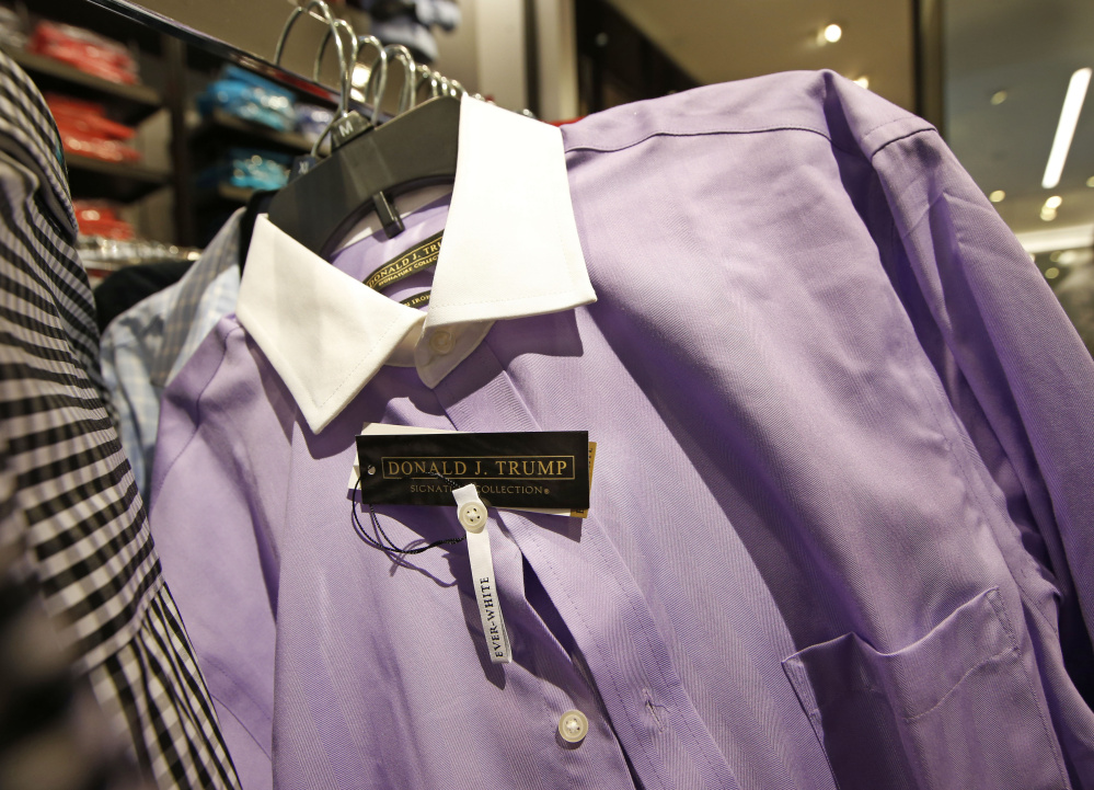 A Donald Trump Signature Collection dress shirt is shown on a rack at Macy's Herald Square flagship store in New York in this 2015 file photo. Macy's ended its relationship with presidential candidate Trump after his remarks about Mexican immigrants.