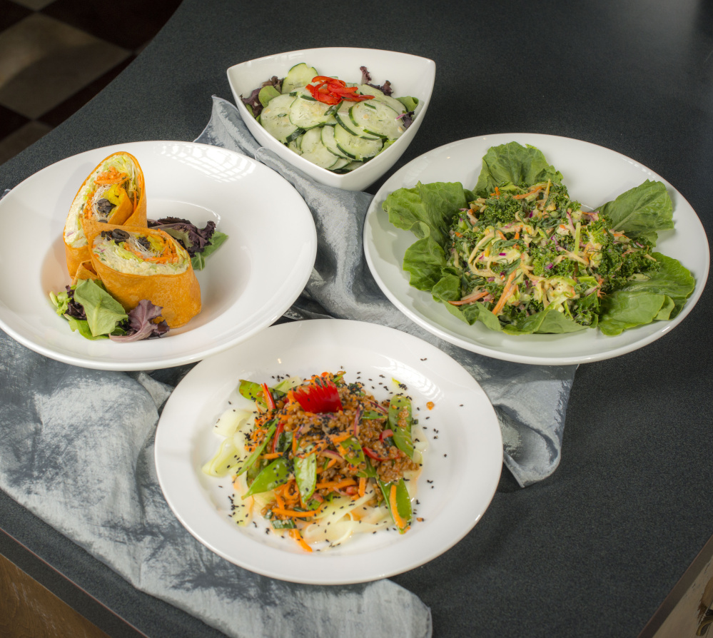 "Salads on the University of Maine at Orono campus made with vegan Just Mayo include a kale and root slaw salad, a vegan tofu ""egg"" salad, a wheatberry Asian salad and a dill cucumber salad."