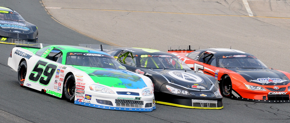 Reid Lanpher, making a move in his No.59 car during a New Hampshire race last summer, will emphasize his five races this season in one of NASCAR's premier development divisions.