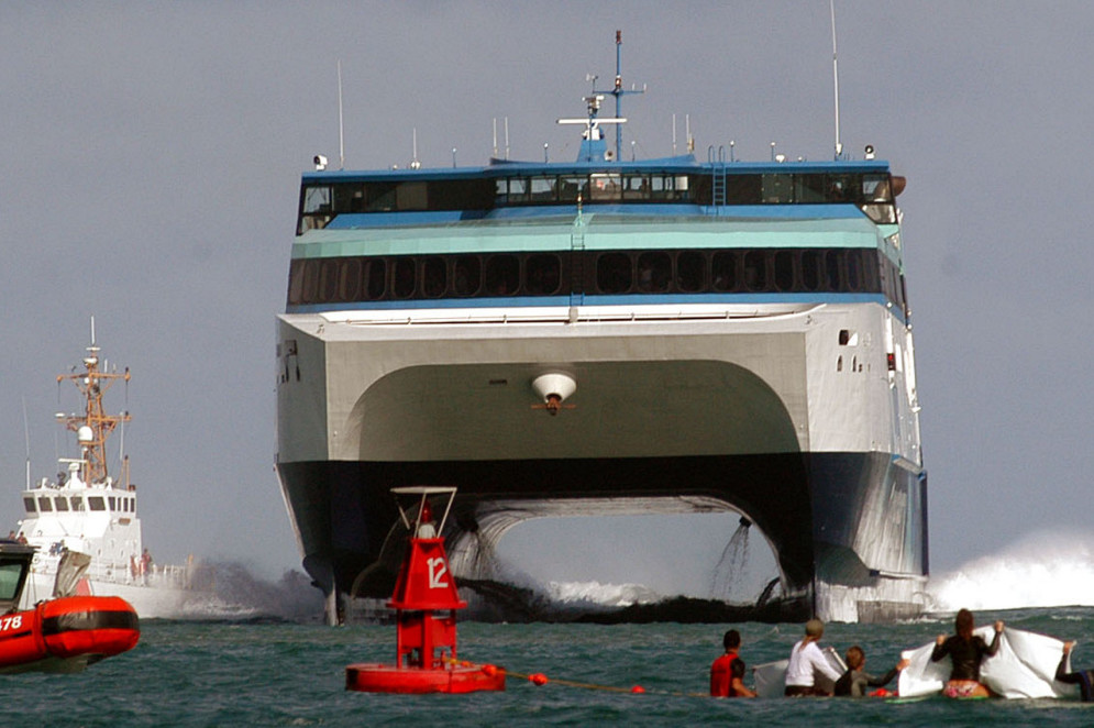 The catamaran that will replace the Nova Star was launched in 2007 by Austal USA and originally was used as a high-speed ferry among the Hawaiian islands.  (AP Photo/Agustin Tabares)