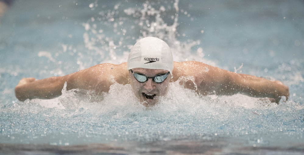 Kevin Bennett/Special to the Telegram Nate Samson, a senior at Brunswick, is the Maine Sunday Telegram Boys' Swimmer of the Year for the second year in a row after a season in which he was among Maine's top swimmers in every event.