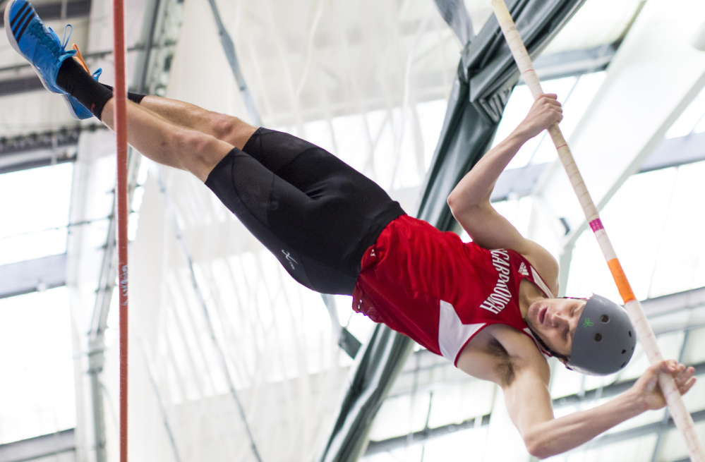 Scarborough's Sam Rusak has established himself as one of the best pole vaulters in Maine history with a top height of 15 feet, nine inches. He's also a state champion in the high jump and an aspiring decathlete.
