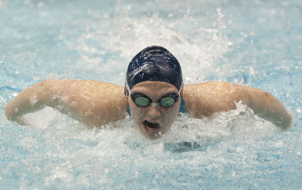 Caitlin Tycz of Brunswick won the 200-yard individual medley at the Class A girls' state meet in Orono by seven seconds, and her state-record time in the 100 butterfly was faster than the winning time in the 100 freestyle.