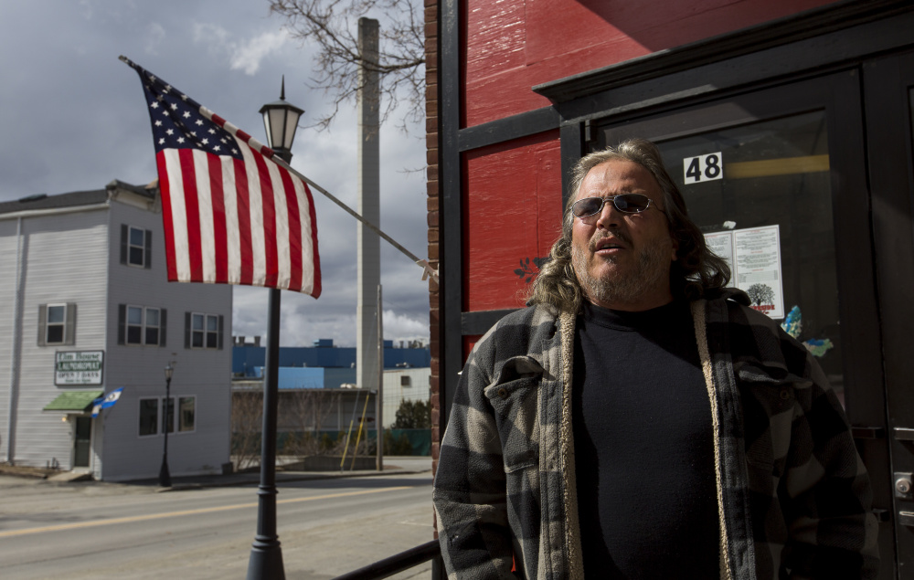MADISON, ME - MARCH 18: Larry Boiardi, 48, of North Anson, stands outside the Curbside Cafe, across the street from Madison Paper Industries. Boiardi, whose wife owns the cafe, said he's motivated to vote in a presidential election for the first time in decades. National security and economic hardships have turned Boiardi into a staunch supporter of Republican presidential candidate Donald Trump. (Photo by Ben McCanna/Staff Photographer)