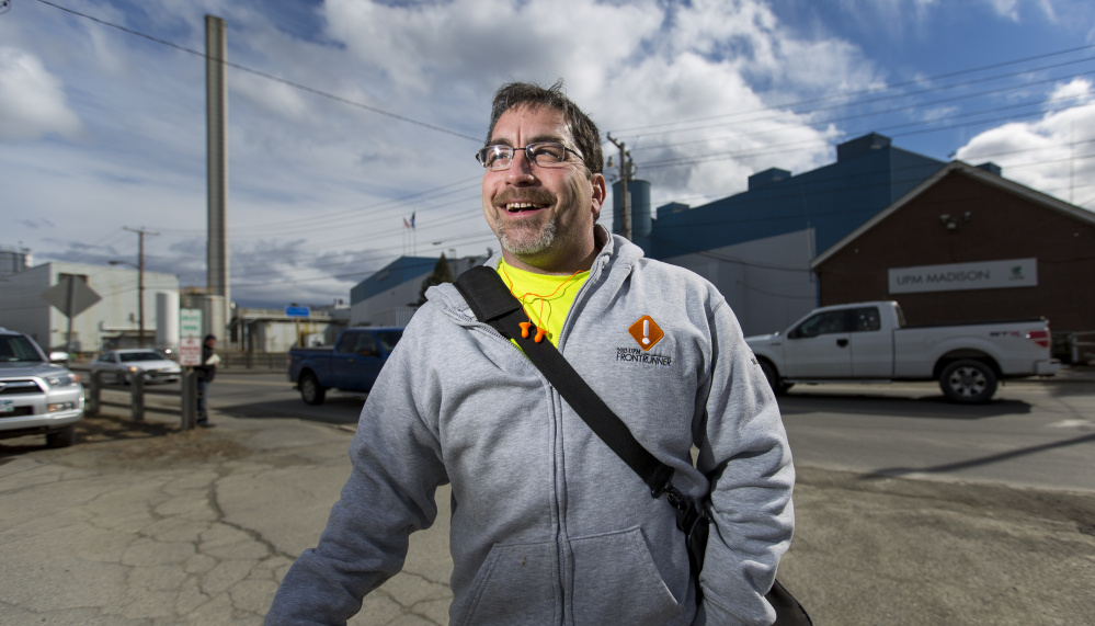 MADISON, ME - MARCH 18: Joel Pooler, 50, of East Madison, stands outside Madison Paper Industries after a shift. Pooler, who will lose his job at the mill, said he plans to vote democratic in the upcoming presidential election. (Photo by Ben McCanna/Staff Photographer)
