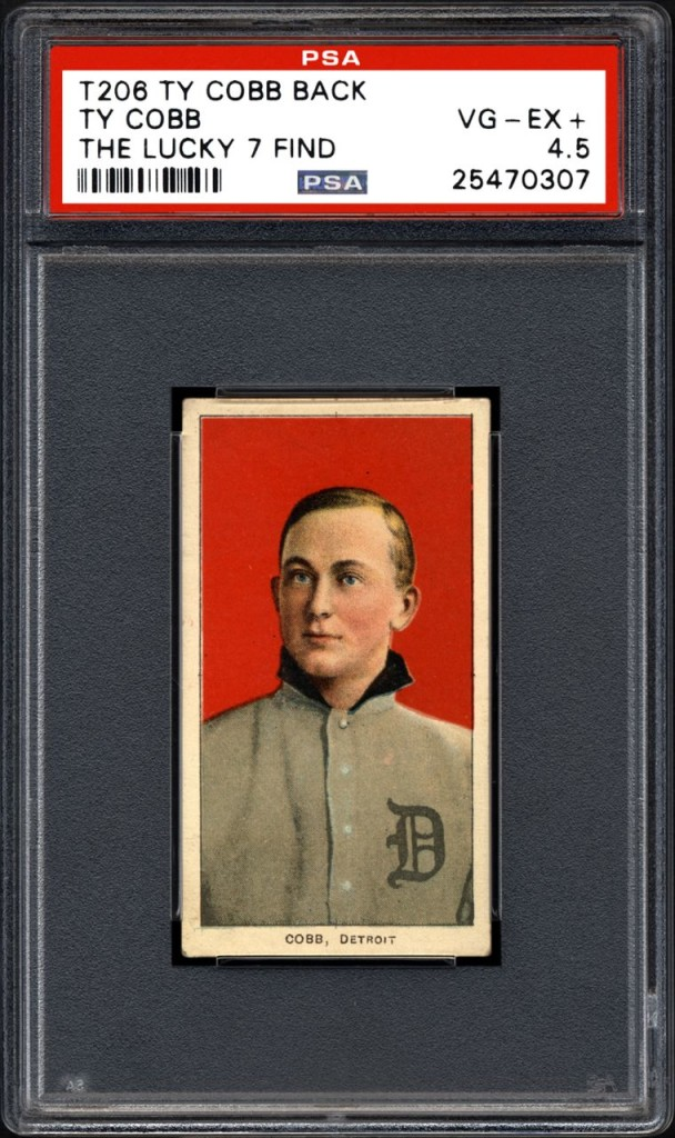 This undated photo provided by Professional Sports Authenticator shows one of seven Ty Cobb baseball cards that were found in a crumpled paper bag in a dilapidated house. Card experts in Southern California say they have verified its legitimacy.