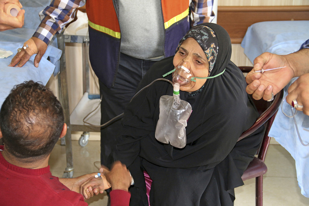 A victim exposed to an apparent chemical attack receives treatment at a hospital in Taza, 10 miles south of Kirkuk in northern Iraq. The Associated Press