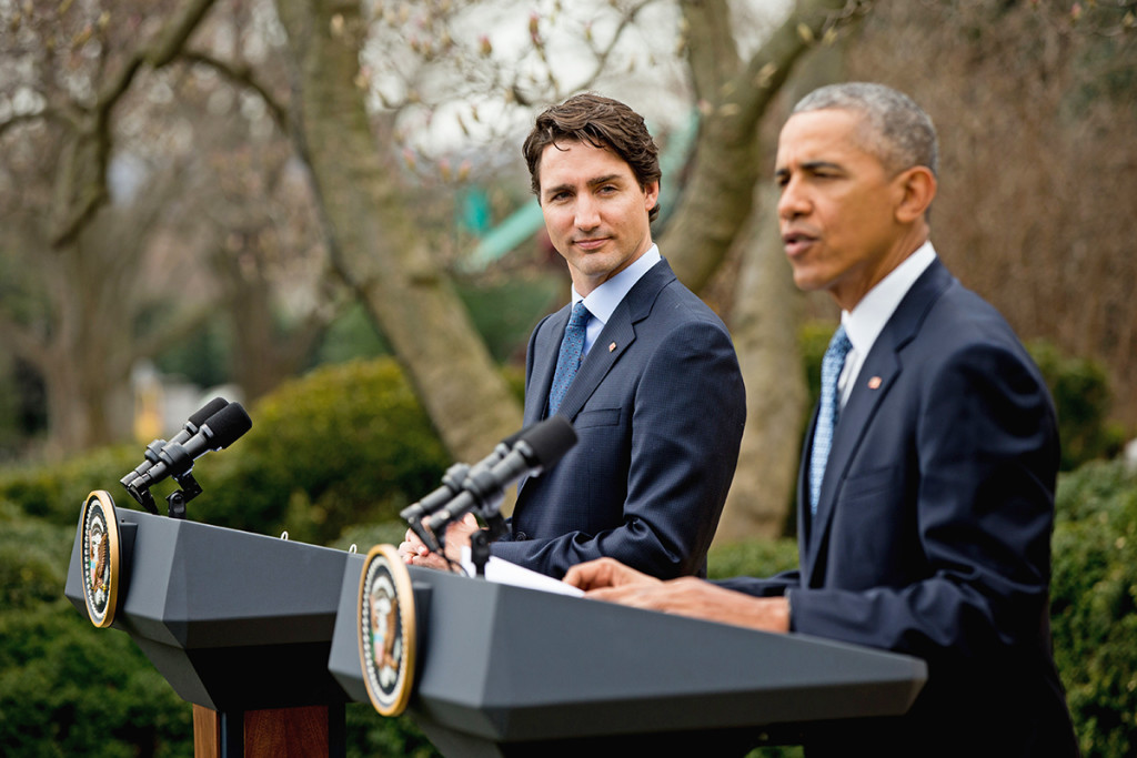 President Barack Obama and Canadian Prime Minister Justin Trudeau participate in a news conference in the Rose Garden of the White House Thursday. The Associated Press