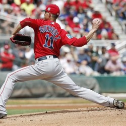 Boston Red Sox' starting pitcher Clay Buchholz delivers a pitch during the first inning of Monday's spring training game against the St. Louis Cardinals in Jupiter, Fla. (AP Photo/Brynn Anderson)