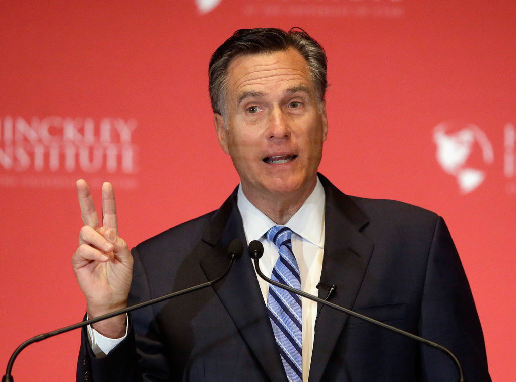 Former Republican presidential candidate Mitt Romney weighs in on the Republican presidential race during a speech at the University of Utah on Thursday in Salt Lake City. He said Donald Trump's
