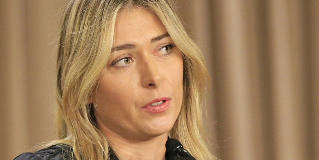Maria Sharapova holds a news conference in Los Angeles on March 7, 2016,, where she announced that she had failed a drug test at the Australian Open. The Associated Press