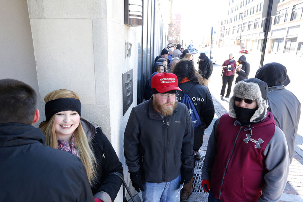 From left, Sean Hartman, 18, of Norway, Prentiss Kurtz, 18, of West Paris, Michael McCann, 24, of Wiscasset and Loren Lilly, 23 of Portland were first in line at the Westin Portland Harborview on High Street in Portland to see Republican presidential candidate Donald Trump, Thursday, March 3, 2016.
