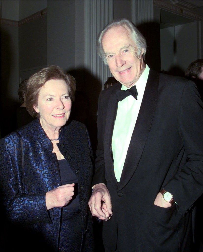 Sir George Martin and Lady Judy Martin make an appearance at a party ahead of the 14th Annual Rock and Roll Hall of Fame induction ceremony in New York in this  March, 15, 1999, photo. The Associated Press