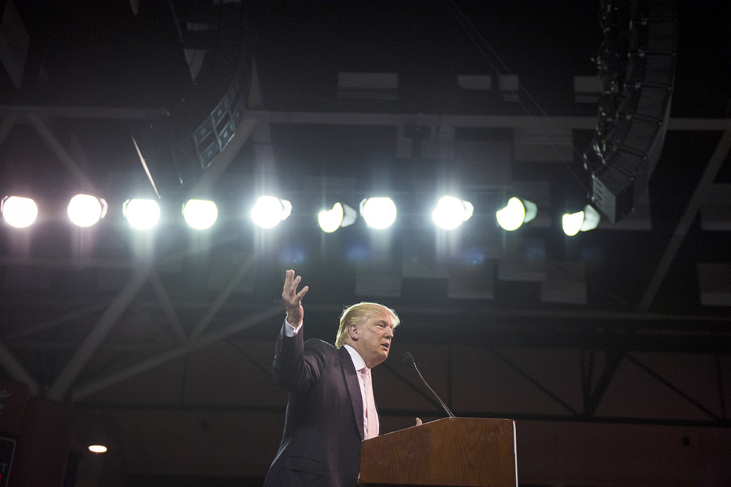 Donald Trump, shown last month on the campaign trail, lost a libel lawsuit against an author who wrote that the mogul wildly inflated his bankroll. Washington Post photo by Jabin Botsford