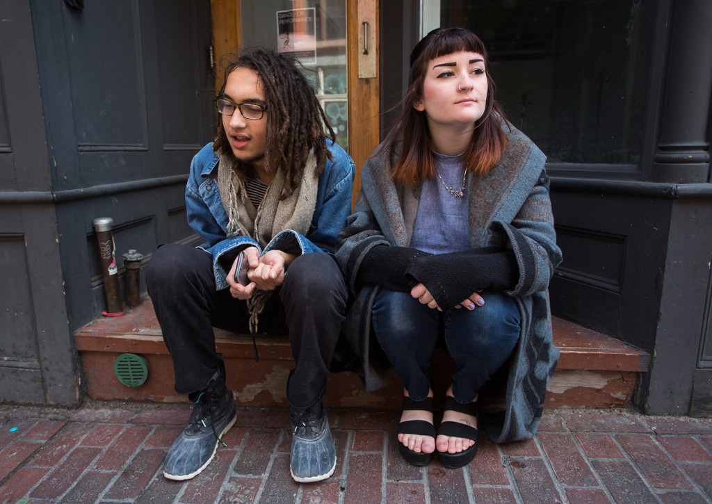Liam Singh, 19, and Cara Peslak, 19, both sophomores at Maine College of Art, talk about the proposed change to the legal age to purchase cigarettes.