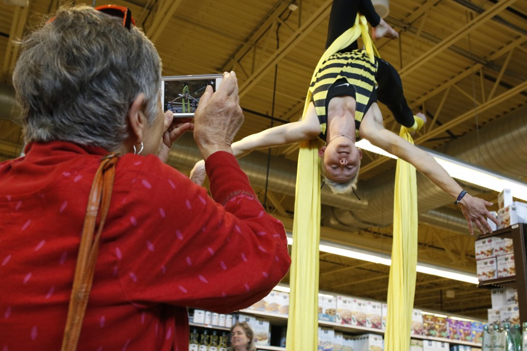 Circus Maine does acrobatic performances at Whole Foods in Portland on Earth Day, Friday. Carl D. Walsh/Staff Photographer