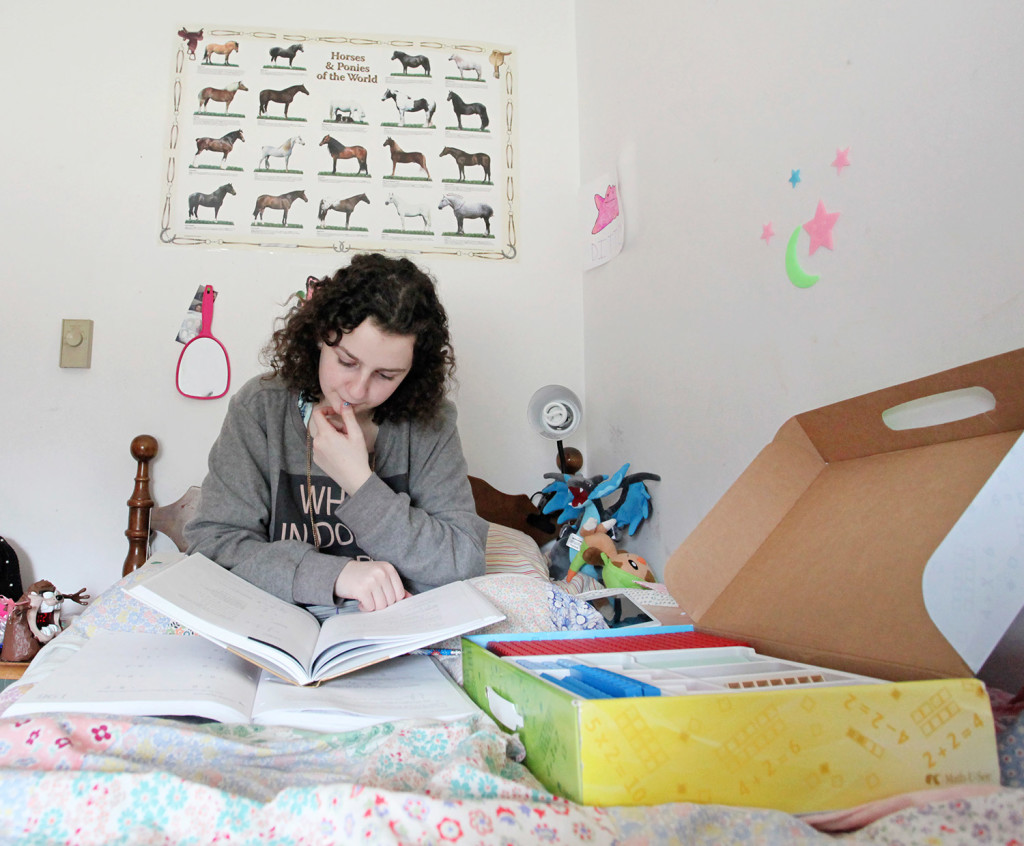maine parents embracing the lessons of homeschooling portland emma verrill 14 studies math in her bedroom in north yarmouth